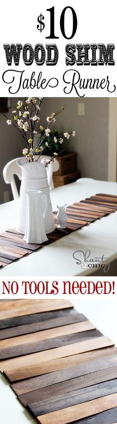Easy DIY Wood Table Runner... Just need a hot glue gun!!!