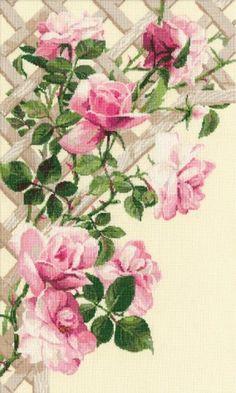 "Вышивка ""Роза на решетке"""