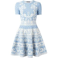 Alexander McQueen floral jacquard dress ($1,995) ❤ liked on Polyvore featuring dresses, blue, flared skirt, sleeveless floral dress, goth dresses, floral circle skirt and floral print dress