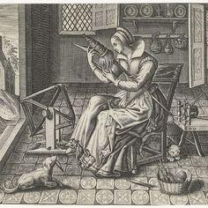 Rijksmuseum, Spinster in een interieur, Jan van Halbeeck, 1600 - 1630