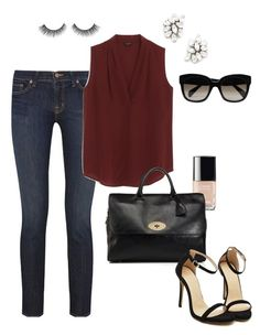 """""""Untitled #341"""" by angela-reiss on Polyvore featuring J Brand, Ben-Amun, Chanel, Ann Taylor, Mulberry and CÉLINE"""