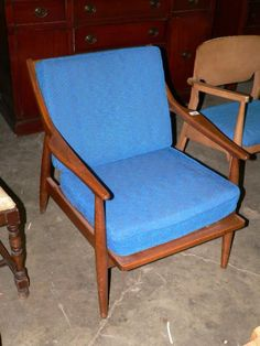 Mid Century Chair with Blue Upholstery