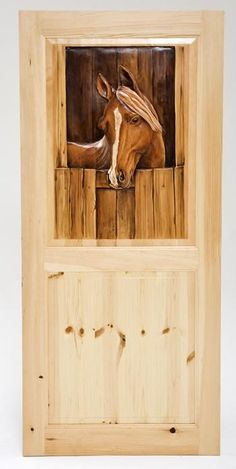 Hand Carved & Hand Painted Interior & Exterior Doors - Horse Head Design - Item - Each Door is Custom Carved Just For You! - Posts & Foot Board Carvings Available - Solid Pine - We Accept Completely Customized Scenes of Your Chosing Painted Doors, Wooden Doors, Rustic Doors, Knotty Pine Doors, Knotty Alder, Into The Woods, Unique Doors, Art Deco, Interior Barn Doors