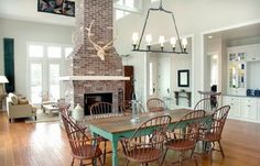 dining and living room fireplace