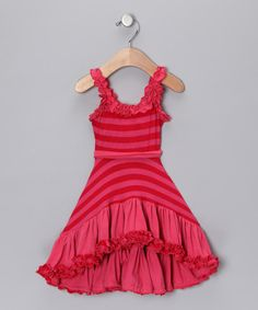 This Pink & Red Stripe Ruffle Hi-Low Dress - Toddler & Girls by Mia Belle Baby is perfect! #zulilyfinds
