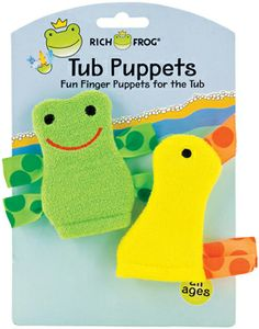 Frog and Duck Tub Puppet - Rich Frog - $9 - recommended as a creative play tool - machine washable