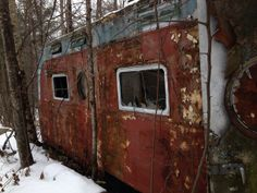 On a snowmobile trip I found an abandoned mobile home in the woods  #abandoned #snowmobile #trip #found #mobile #home #woods #photography