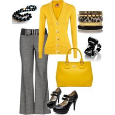 """gray & yellow work wear"" by tractorqueen on Polyvore"