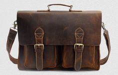 Handcrafted Leather Briefcase / Messenger / Laptop / Men's Bag in Dark Brown on Etsy, $115.00