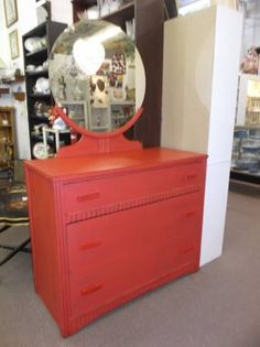 $159 - This solid wood chest comes with the original round mirror. Painted, lightly distressed and waxed. ***** In Booth D12 at Main Street Antique Mall 7260 E Main St (east of Power RD on MAIN STREET) Mesa Az 85207 **** Open 7 days a week 10:00AM-5:30PM **** Call for more information 480 924 1122 **** We Accept cash, debit, VISA, MasterCard or Discover.