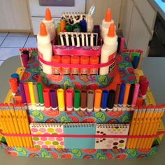 School Supply Cake, good for a school fundraiser. The class that gets their number drawn wins the cake for their class.