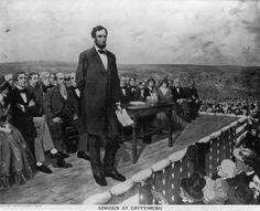 President Abraham Lincoln, about t deliver the Gettysburg Address - a speech by U.S. considered one of the best-known in American history. It was delivered by Lincoln during the American Civil War, on the afternoon of Thursday, November 19, 1863, at the dedication of the Soldiers' National Cemetery in Gettysburg, Pennsylvania, four and a half months after the Union armies defeated those of the Confederacy at the Battle of Gettysburg.
