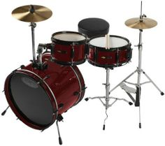 """Sound Percussion Deluxe Jr. 3-Piece Drum Set Wine Red by Sound Percussion. $129.99. The Deluxe Junior 3-piece Drum Set Sound Percussion is a real drum kit that was designed with the little drummer in mind. Smaller-than-standard drum sizes include a 16 x 12"""" bass drum, 8 x 5"""" mounted tom, and a 10 x 4-1/2"""" snare.The kit includes a full hardware pack: kick pedal, cymbal and hi-hat stands, and a throne. Complete with a 12"""" cymbal and a pair of 10"""" hi-hat cymbals. Avai..."""