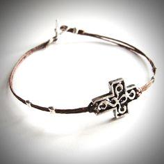 Silver Sideways Cross bracelet on linen (you choose the color!) from JewelryByMaeBee on Etsy.
