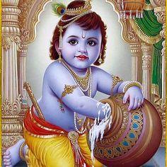 Lord Krishna is one of the most lovable and cute God along with Lord Ram, Ganesh, Hanuman and Murugan. Bal Krishna done Krishna Hindu, Jai Shree Krishna, Cute Krishna, Krishna Radha, Hindu Deities, Lord Krishna, Hanuman, Indian Art Paintings, Classic Paintings