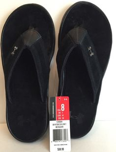 NWT Men's Black Under Armour Leather Toxic 6 Flip Flop Sandals Size 8 #UnderArmour #FlipFlops