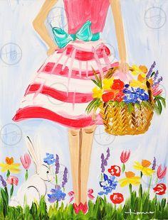 Easter Dress | Timree Paint Studio. Plaint Classes & Parties. Timree.com #newportbeach #paintclasses #paintparty #easter #girly