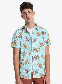 Disney Lilo & Stitch Hawaiian Short Sleeve Woven Button-UpDisney Lilo & Stitch Hawaiian Short Sleeve Woven Button-Up, LIGHT BLUE