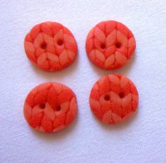 """,,Štrikovaný"""" FIMO gombík - Oranžový"""