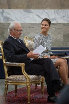 King Carl Gustaf of Sweden and Crown Princess Victoria of Sweden attend Kammarkollegiet's 475th Anniversary Celebrations at the Hall of State in the Royal Palace on September 9, 2014 in Stockholm, Sweden.