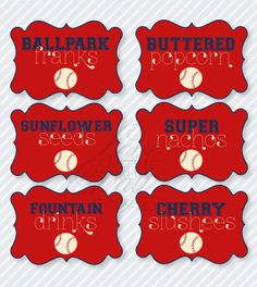 baseball party printables | Baseball Birthday Party PRINTABLE Food Labels from Love The Day by ...