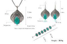 Retro Bohemian Vintage Turquoise Claw Flower (big) Pendant Necklace/ Earrings/ Bracelet Jewelry Set