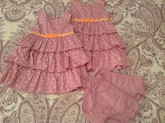 Size 24 Month Carter's Lavender Polka Dot Ruffle Dress and Bloomers $5 each TWIN GIRL TODDLER CLOTHES
