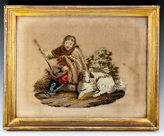 Antique Victorian or Georgian Era Needlepoint Needlework Tapestry in Gold Frame, Shepherd and Dog