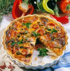Cheddar, Vegetable Pizza, Quiche, Vegetables, Breakfast, Food, Diet, Red Peppers, Morning Coffee