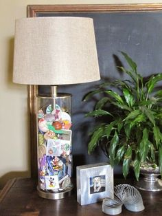 Memory jar lamps - A place to keep collectibles and memorabilia.  Blogger found fillable lamps at Target for $25.