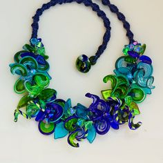 Curl Lampwork in Blues and Greens Handmade Glass by conbriobeads