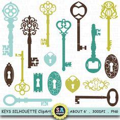 "Keys Silhouette ClipArt "" KEY  SHIHOUETTE "" clip art, Vintage Skeleton Keys Clip Art ,Color Key,Retro Key, Antique Key,Scrapbooking  Ca020"