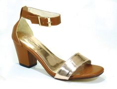 R 309 (Tan) Footwork Medium Heel Sandal with Ankle Strap. Code: Fw421991-09-A