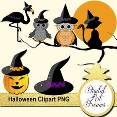 Halloween Clipart Black Cat Witch Hat Owls by DigitalArtDreams