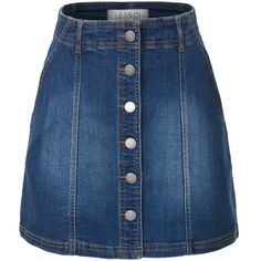 LE3NO Womens Button Down Denim Mini A-Line Skirt with Pockets ($21) ❤ liked on Polyvore featuring skirts, mini skirts, bottoms, saias, a line denim skirt, denim miniskirt, short skirts, button down denim skirt and short denim skirts