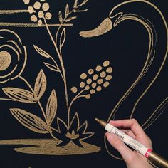 gold sharpie painted walls - Rifle Paper Co. Sharpie Wall, Gold Sharpie, Sharpie Paint, Painted Walls, Weekend Projects, Rifle Paper Co, Home Wallpaper, Beach House, Crafting