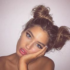 messy double buns More