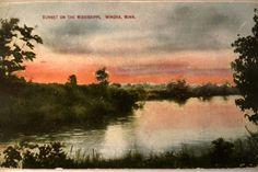Sunset on Mississippi River in Winona, Minnesota postcard  www.visitwinona.com