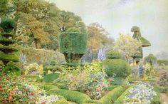 George Samuel Elgood: Roses and Pinks, Levens Hall, Westmorland 1892 Garden Painting, Garden Art, Green Garden, Fine Art Prints, Canvas Prints, Framed Prints, Victorian Art, Victorian Homes, Topiary Garden