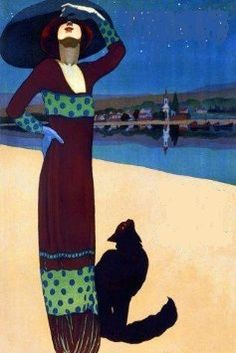 Fashion Lady Girl Beach with Black Cat Boston Travel Tourism X Image Size Vintage Poster Reproduction Cat Posters, Art Deco Posters, Illustrations And Posters, Poster Prints, Cat Wall, Sea And Ocean, Vintage Cat, Beach Girls, Travel And Tourism