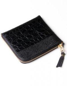 Comme Des Garcons   reptile embossed black partial zip wallet