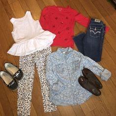 ☀️ GIRLS 5/6 BUNDLE Children's place eyelet layered tank with flair waist, children's place gray cheetah leggings, Red Sonoma jeweled long sleeve t-shirt, Cherokee button down leopard print top, Levi skinny denim with adjustable waist and pink lined jeweled back pockets, Arizona sequin boat shoes (normal wear) size 13, No Call brown ribbon lined flats size 12 (normal wear / small scuff in fronts) Other