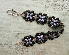 Linda's Crafty Inspirations: Bracelet of the Day: For Your Eyes Only - Lavender & Jet