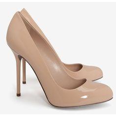 Sergio Rossi Kalika Patent Leather Pumps: Nude ($595) ❤ liked on Polyvore