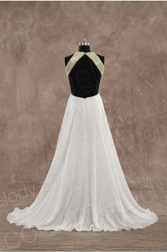 Sexy A-Line High Neck Natural Train Chiffon White Sleeveless Backless Evening Dress with Beading and Draped PR3148 - Special Occasion Dresses #cocomelody