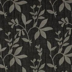 Black vine drapery fabric - Alexa Obsidian by Charles Parsons Interiors #black #fabric #drapery #curtain #vines #charlesparsonsinteriors