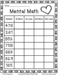 FREE Printable Mental Math Worksheet