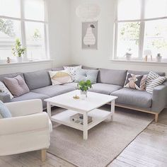 The living of @lillekarri a perfect blend of grey + pastel
