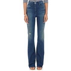 3x1 High-Rise Boot-Cut Jeans ($285) ❤ liked on Polyvore featuring jeans, blue, destroyed jeans, torn jeans, destroyed bootcut jeans, faded jeans and boot cut jeans