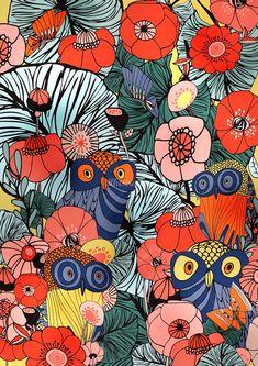 Ella Tjader Illustration Portfolio – Fashion, Art and Nature Illustrator Motif Floral, Floral Prints, Art Prints, Floral Patterns, Images Roi Lion, Owl Wallpaper, Surface Art, Doodle Art Drawing, Graffiti Wall Art